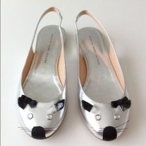 Marc by Marc Jacobs Silver Mouse Slingbacks 36/6